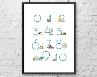 Forest Numbers Art Print, Illustration, Numbers Poster, Kids room Print, Baby print art, room décor, Printable wall art, digital art