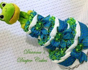 Baby Diaper Cake Frog Rattle Shower Gift or Centerpiece