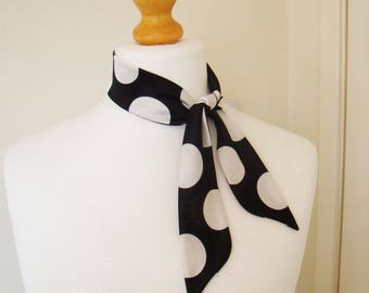 Silky Jersey neck Scarf. Large Black & White Polka Dot design stretch jersey fabric handmade gift for her Mother's Day Stunning