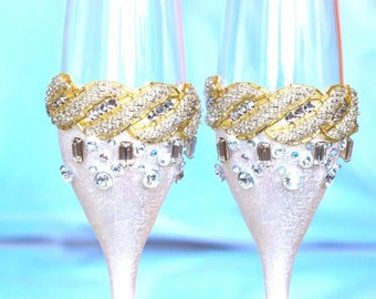 Silver wedding glasses Wedding toasting flutes Wedding flutes Gold wedding glasses Champagne glasses Wedding champagne flutes Gold glasses