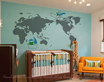 World map decal etsy world map decal 79 x 39 for nursery room kids decal playroom wall gumiabroncs Images
