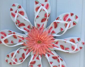 Watermelon flip flop wreath