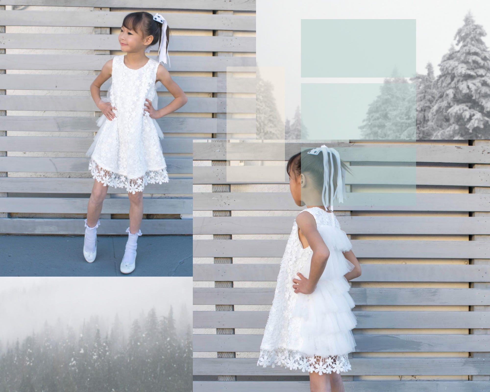 Girl snow white floral lace feathery tulle flaps knee length dress girl snow white floral lace feathery tulle flaps knee length dress wedding flower girl pageant party baptism christening communion mightylinksfo
