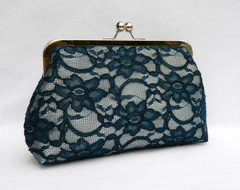 Navy and Silver Clutch, Navy Bridal Clutch, Navy Wedding Clutch, Lace Clutch, Bridesmaid Clutch, Bridesmaids Gift, Evening Clutch