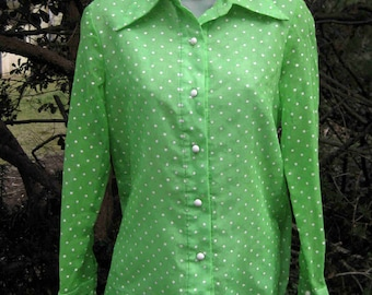 Large green polka dots, ladies light green blouse, green womens shirt, long sleeved, button down, long sleeves blouse shirt,