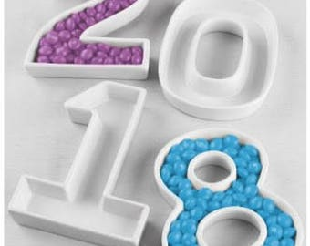 2018 ceramic letter dishes for New years eve celebrations and parties