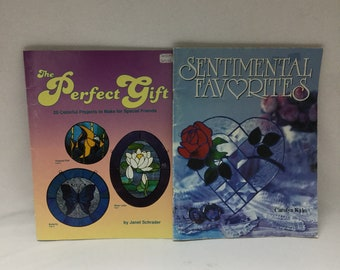 2 Used Stained Glass Pattern Books The Perfect Gift + Sentimental Favorites Great for Beginners Full Sized Patterns Many Color Photos
