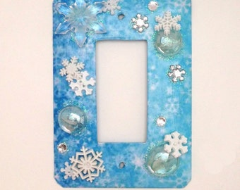 Girls Blue Princess Switch Plate, Snowflakes & Frozen Water, Light Switch Plate Cover, Blue Switch Plate, Girls Switch Plate Cover, Light Sw