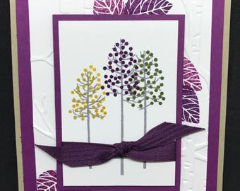 Sympathy card, handmade, purple and green