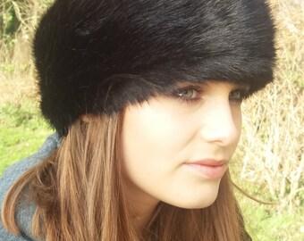 Super Luxury Black Faux Fur Headband / Neckwarmer / Earwarmer Handmade in Lancashire England
