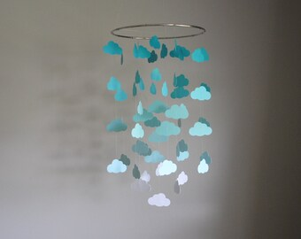 Teal/Turquoise/Aqua Clouds Mobile // Nursery Mobile - Choose Your Colors