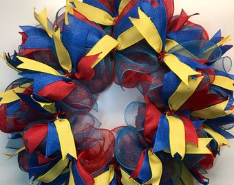Superman Inspired Deco Mesh Wreath