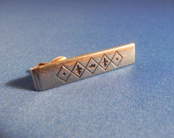 Vintage Swank Tie Clasp Gold Tone Bar With Geometric Design