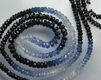 16 Inches, AAA Quality, Natural Burma Blue Sapphire Rondelles Shaded Sapphire Size 3.5-2.5mm