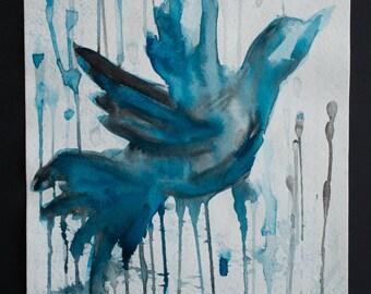 Blue Bird - Original Watercolor Painting