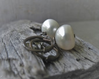 Freshwater Pearl Earrings Natural White Button Pearl Earrings Bridal Pearls Wedding Jewelry Item No. JEP2249