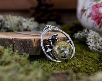 Forest Floor Pendant Growth Pendant, Lichen, Moss and Sterling Silver