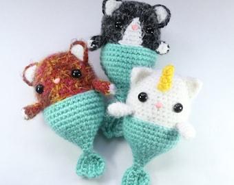PATTERN: Fairy Unicorn Mermaid Cat Caticorn Purrmaid Crochet Amigurumi Doll Plushie Plush