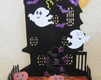 Black Flocked haunted House Centerpiece