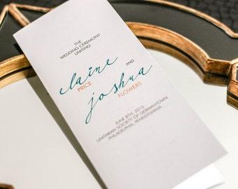 "Modern Wedding Ceremony Programs, Calligraphy Programs, Teal and Orange Wedding - ""Modern Calligraphy"" Booklet Program - DEPOSIT"