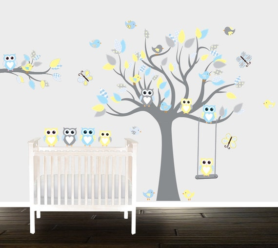 Awesome Boys Grey Yellow Owl Wall Decals Nursery Wall Stickers