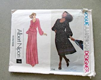 Vintage Vogue 1746 Sewing Pattern, Albert Nipon, 1970s Skirt Pattern, Balloon Sleeves Blouse Bust 36, American Designer 1970s Sewing Pattern
