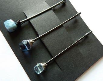 Blauen Würfel Edelstein Trio Bobby Pin Pack - etwas blau - blau Flourit, blauen Opal, blauer Topas