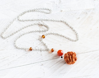 Orange fabric bead necklace, textile necklace, textile jewelry, Statement Necklace, Unique Gift for Her