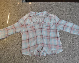 Thrifted Women's Plaid Shirt, Womens Large Plaid Shirt, Thrift Store Shirt, Gift for Her, Womens Large Top, Womens Clothing, Thrift Top,