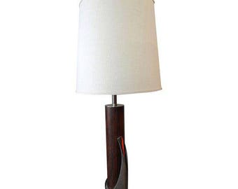 Mid-Century Lamp Danish Modern Faux Walnut Chrome Table Lamp