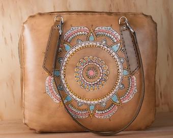 Sac Weekender cuir pour femmes - fourre-tout en cuir, sac à langer, ordinateur portable, sac à main Oversize - motif Mandala en aqua, rose et brun antique