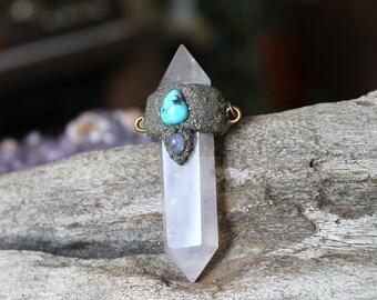 Rose Quartz Crystal Necklace with Natural Moonstone & Turquoise - Rose Quartz Jewelry - Boho Jewelry - Quartz Necklace - Gypsy Jewelry