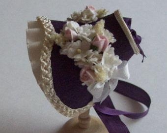 Handmade 1/12th scale dollshouse beautiful aubergine silk bonnet