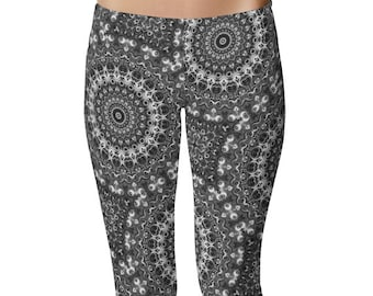 Black Yoga Pants, Awesome Mandala Yoga Leggings Gifts, Cool Monochrome Leggings, Black and White Festival Leggings, Meditation Pants