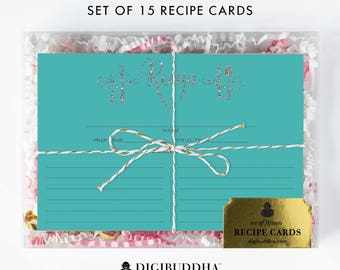 Recipe Cards Gift Set of 15 Recipe Cards Pack of 15 Recipe Card Gift Set Turquoise Silver Glitter Utensils Kitchen Modern Recipe Card - Mila