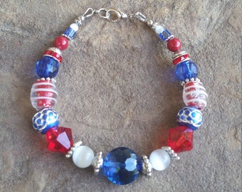 Red, White and Blue 4th of July Bracelet #2013