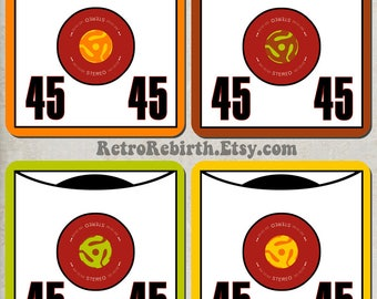45 Record Pop Art Drink Coaster Set - Music Gift - Great For Housewarming, Bar & Coffee Table Display - Set Of 4