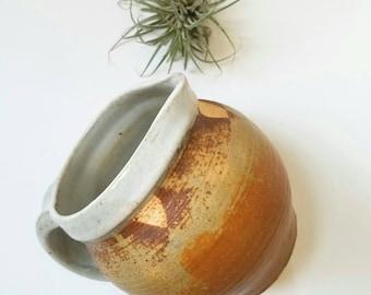 Fat Round Earthtone Handmade Ceramic  Pitcher