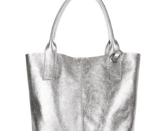 Silver leather tote bag, Leather bag, Silver tote, Women tote, Woman tote, Tote silver, Silver, Designer tote, Silver bag, Leather tote, Bag