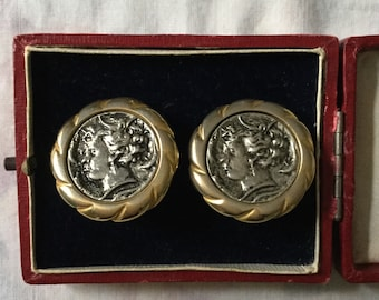 Vintage ORIGINAL ANTIQUE COIN Earrings