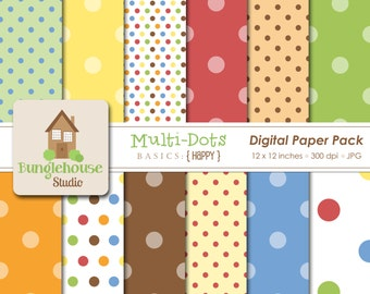 Polka Dot Digital Paper Pack | Instant Download | Multi Dots Digital Scrapbooking Basics | Primary Color Dots