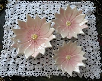 Ceramic Pink Flower Dish, Nesting Ring Dish, Set of 3 Ring Holders, Trinket Dish