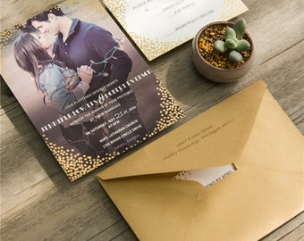 Photo Wedding Invitations with Gold Foil Detail. Modern Wedding Invitation.  Bokeh Invite.  Gold Foil Dots.  Modern Wedding.