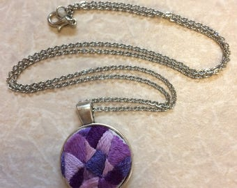 Purple Geometric Patchwork Embroidery Necklace