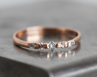 Rose Gold wedding Ring, Rose Gold Diamond Band, Handmade Rose gold Ring, Princess Diamond Band, Baguette Diamond Ring, Unique Wedding Ring