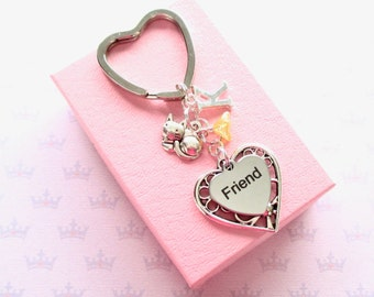 Personalised friend keyring - Friend Birthday - Cute cat keychain - Initial keyring - Gift for friend - Little cat keyring - Etsy UK