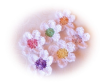 lot 6 multicolored and white crochet flowers