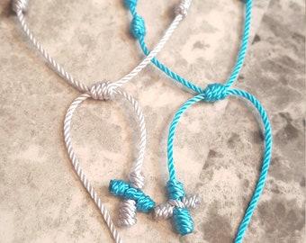 Knotted Rosary bracelet, set of friend ship bracelets, SALE!