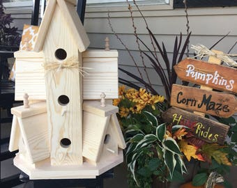 Beautiful XTRA LARGE HANDCRAFTED Unfinished Wooden Bird House Bird Condo Birdhouse
