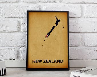 New Zealand poster New Zealand art New Zealand Map poster New Zealand print wall art New Zealand wall decor Gift poster
